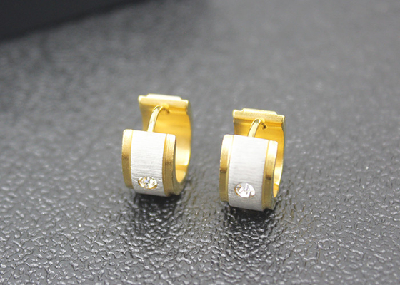 18K Gold Plated Stainless Steel Dangle Earrings Rhinestone Crystal Huggie Hoop