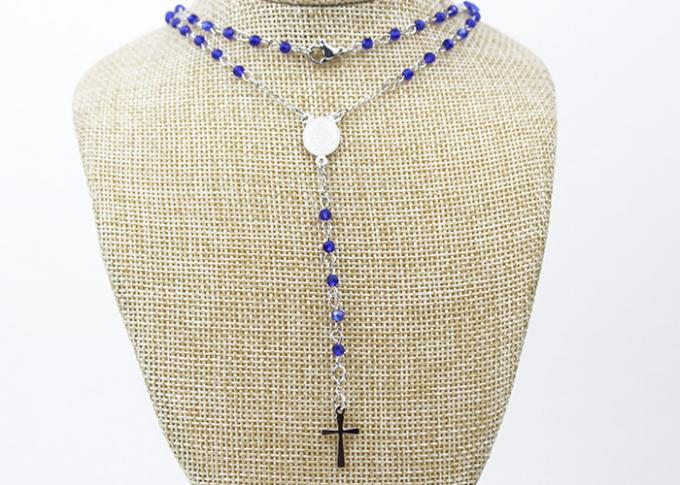 Stainless Steel Catholic Rosary Necklace , Crystal Beads Rosary Cross Necklace